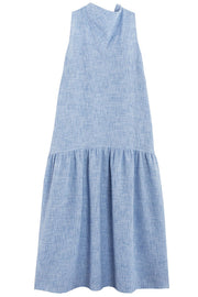 Blue Cowl Neck Dress