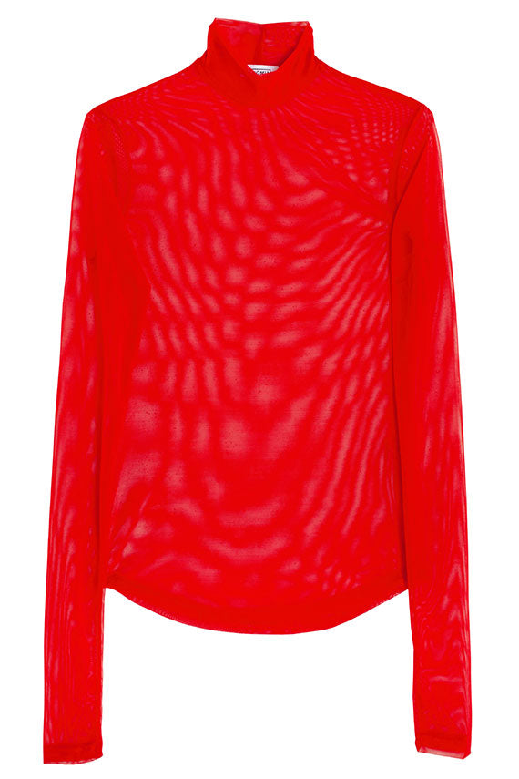 Red Mesh Mock Neck