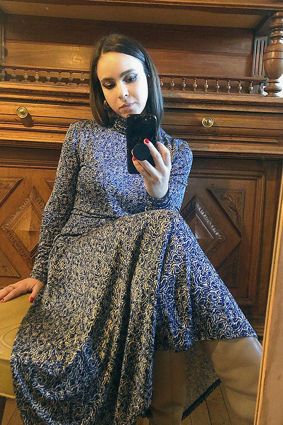 Rodebjer picasso blue turtleneck with matching Inec skirt