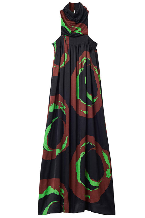 rodebjer halter style maxi dress, sleeveless in an original swirl pattern