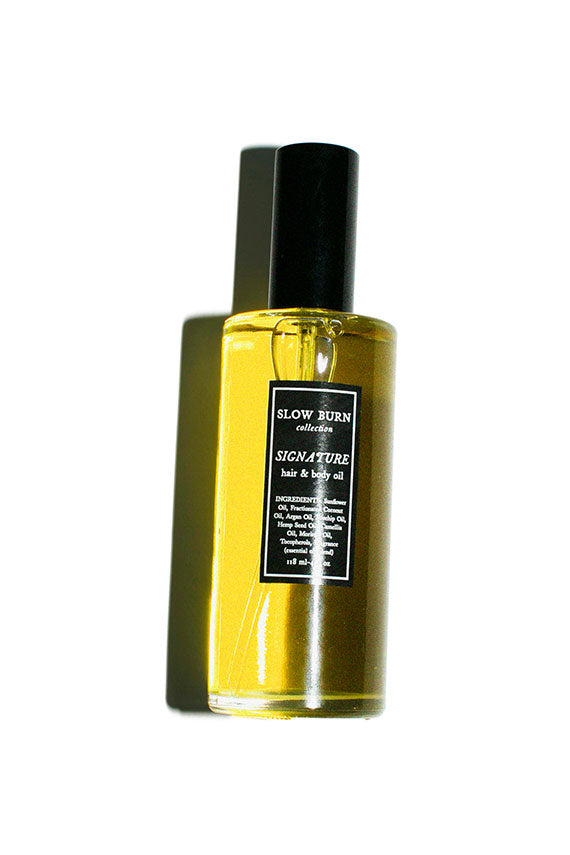 all-gender hair and body oil scented with warm heart notes of rose, bergamot and dark orange top notes, with amyris and vetiver base.