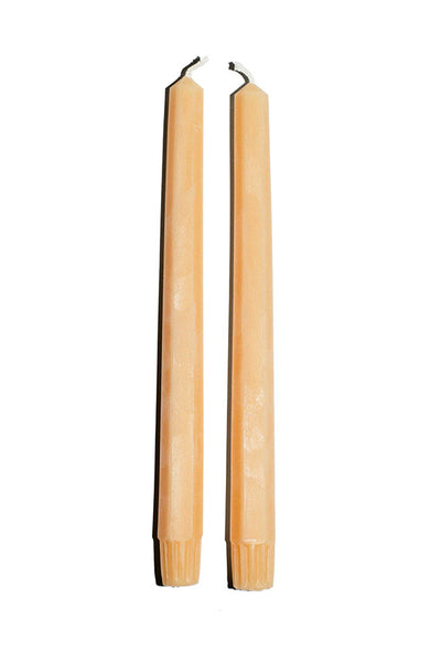 set of two Slow Burn beeswax tangerine taper candles