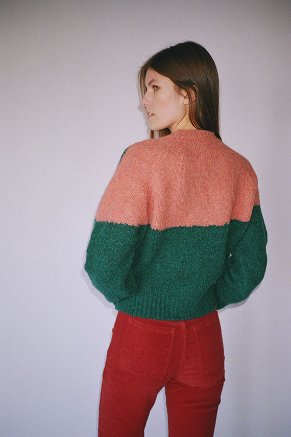 Teal & Coral Ying Yang Sweater