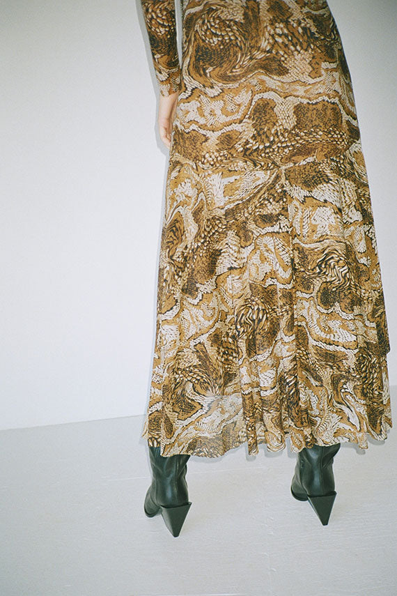 Tiger's Eye Printed Mesh Dress