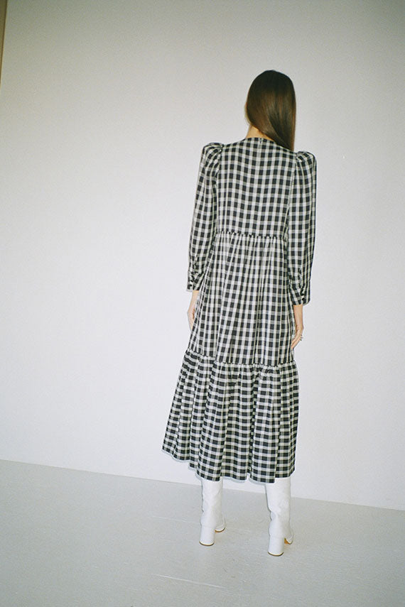 Navy May Plaid Dress