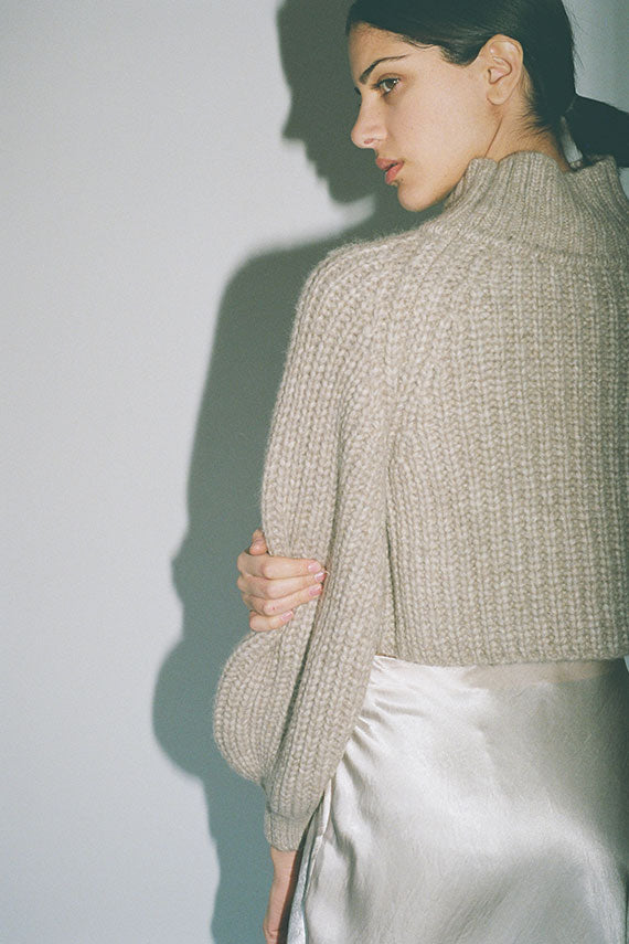 Beige Bulb Crop Sweater