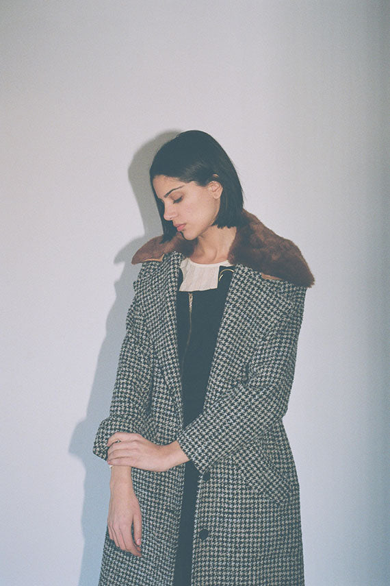 Black Houndstooth Edgar Coat