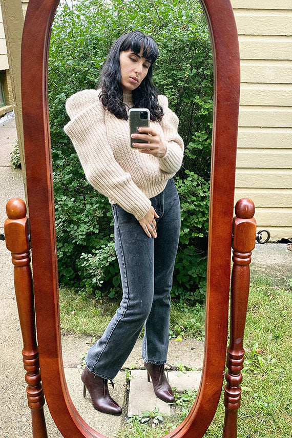 Cat Soteira (Ries) in the cream Ulla Johnson Daphne pullover