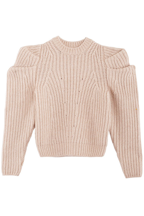 cream Ulla Johnson Daphne crewneck pullover with sculptural puff sleeves in alpaca blend