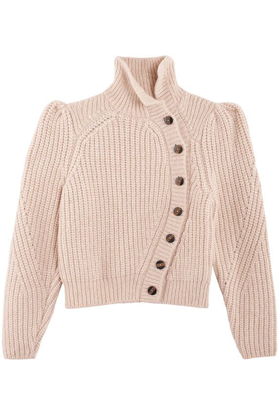 Puff sleeve creme cardigan with asymmetric buttons and turtleneck