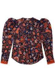 Ulla Johnson midnight floral Willa blouse with dramatic puff sleeves in a navy, pink and red faux batik floral