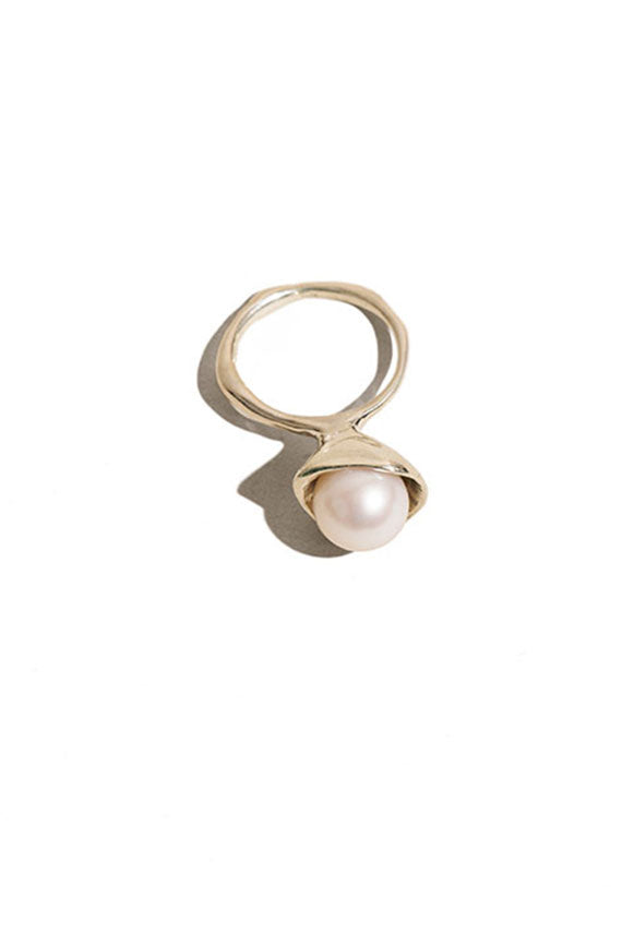 Silver Pearl Chapeau Ring