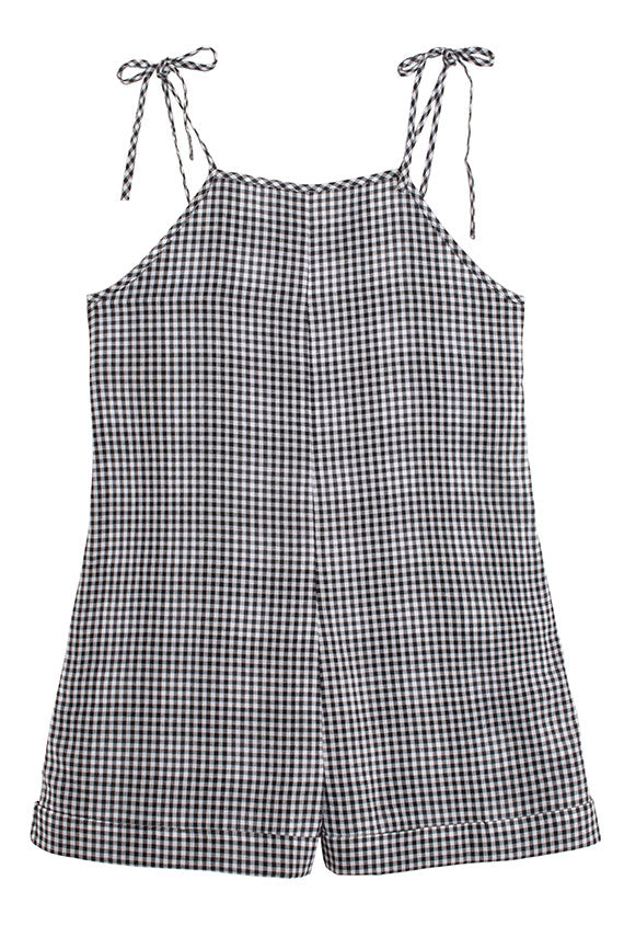 Black Check Camille Romper