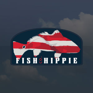 Fish Hippie Patriotic Red Sticker