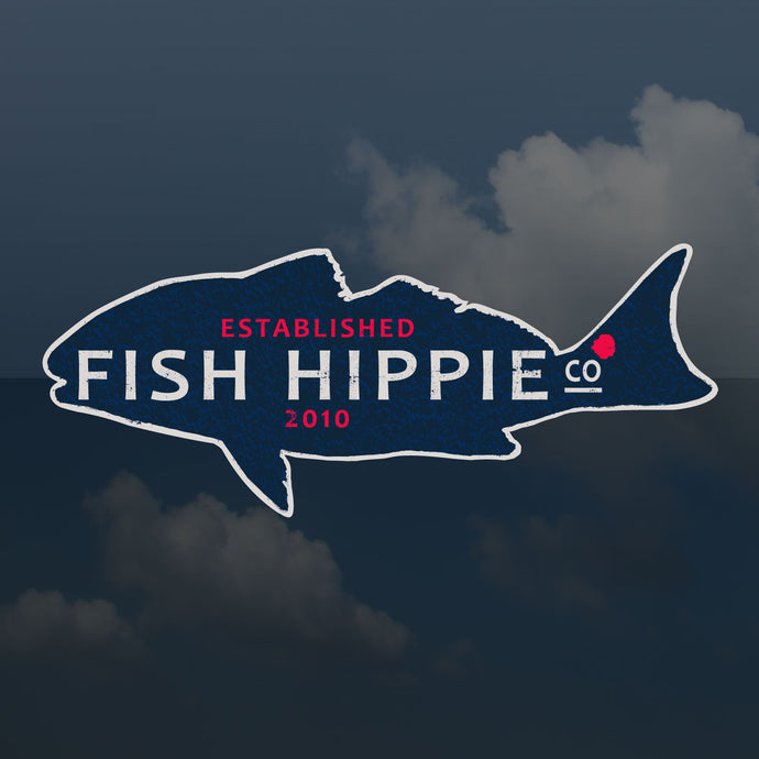 Fish Hippie Red Fish Sticker