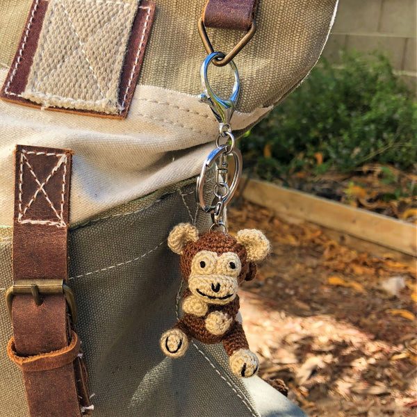 Crochet Keychain Monkey on a bag- Farmer Soul