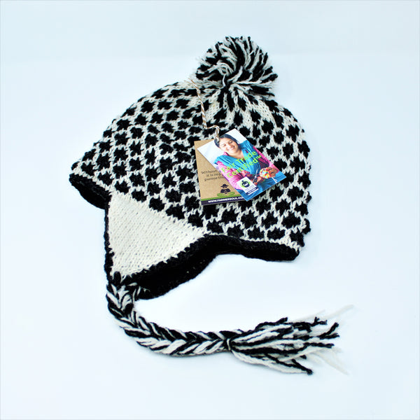 Nepal Hand Knit Shupa Hat - Cold Weather Hat with Ear Flaps, Soft, Warm & Comfortable