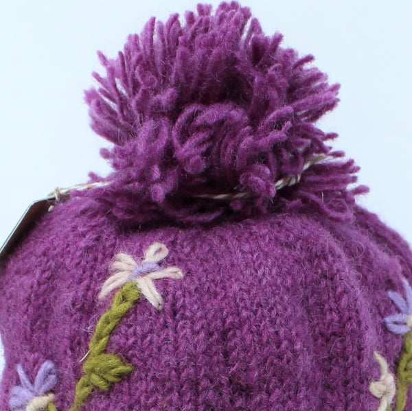 Nepal Hand Knitted Wool Phula Earflap Hat - Cold Weather Hat, Soft, Warm & Comfortable