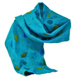 Wool Scarf, felted merino wool and silk scarf