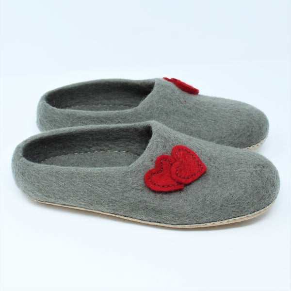 Felt Wool Women Slippers Gray - 100% Sheep Wool and Leather Sole