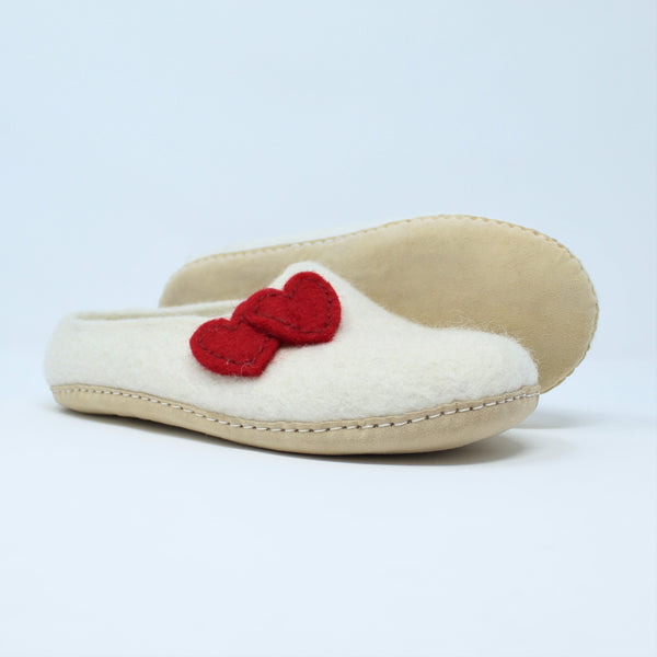 Felt Wool Women Slippers White - 100% Sheep Wool and Leather Sole