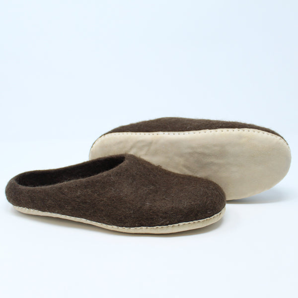 Mens Slippers, Felted Indoor Slippers in Brown