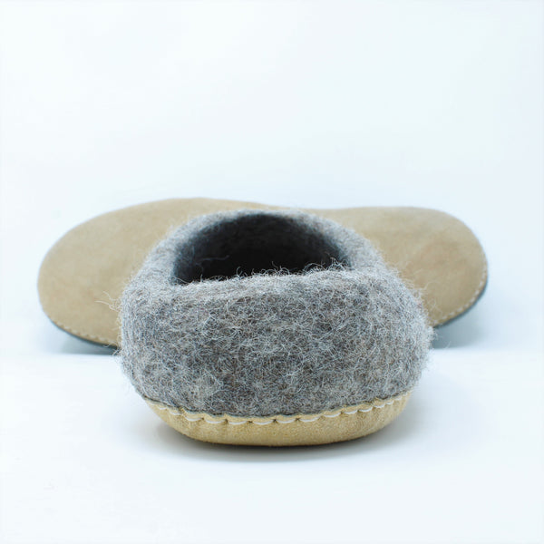 Mens Slippers, Felted Indoor Slippers in Gray