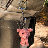 Crochet Keychain piglet on a bag