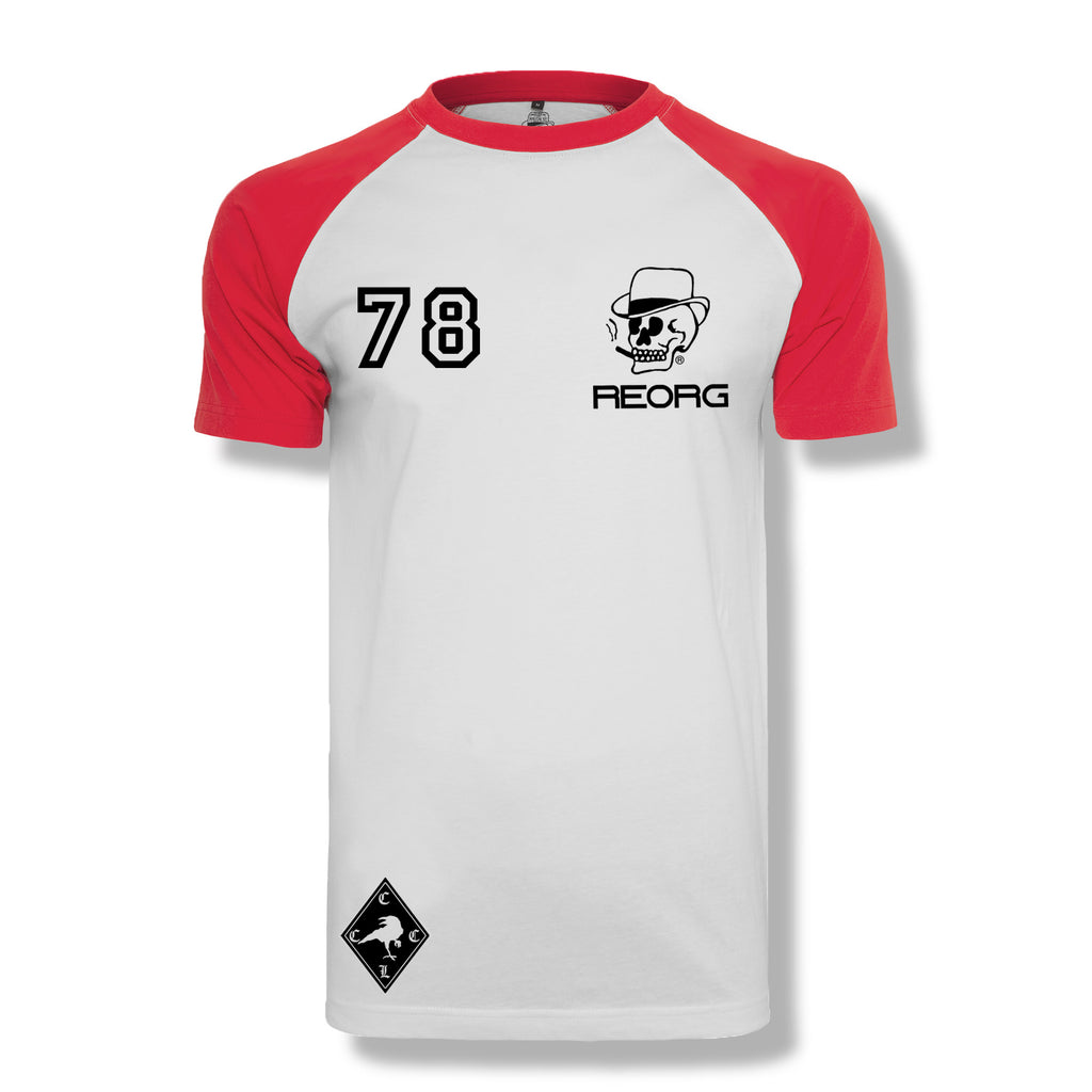 RK x REORG Functional Raglan Short Sleeve - White/Red Sleeve