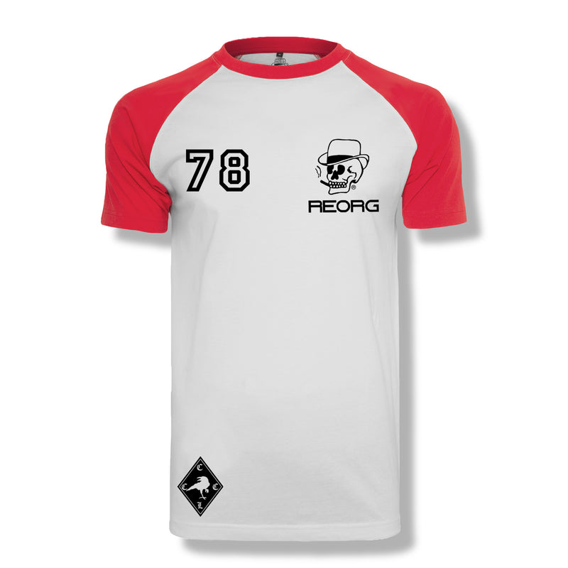 RK x REORG Functional Raglan Tee - Short-sleeve / White/Red Sleeve