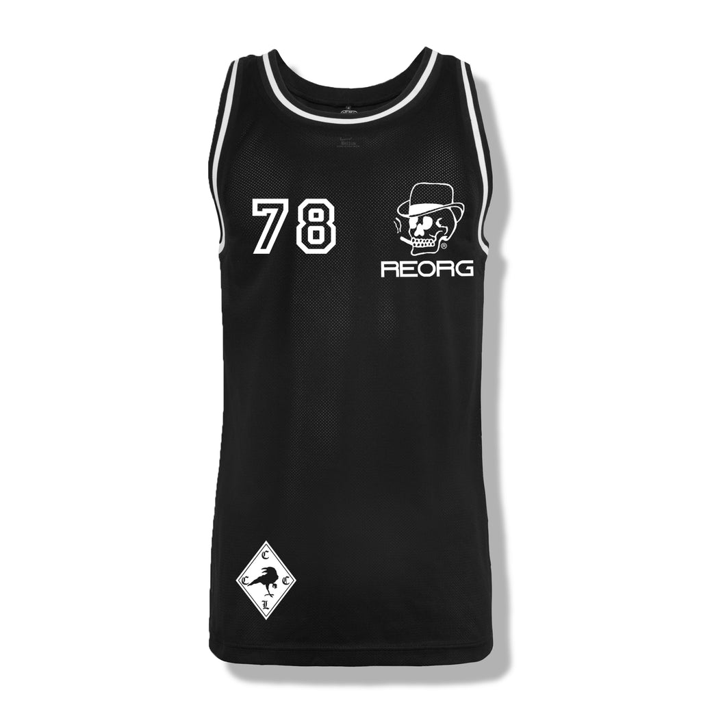 RK x REORG Functional Basketball Top - Black with White piping