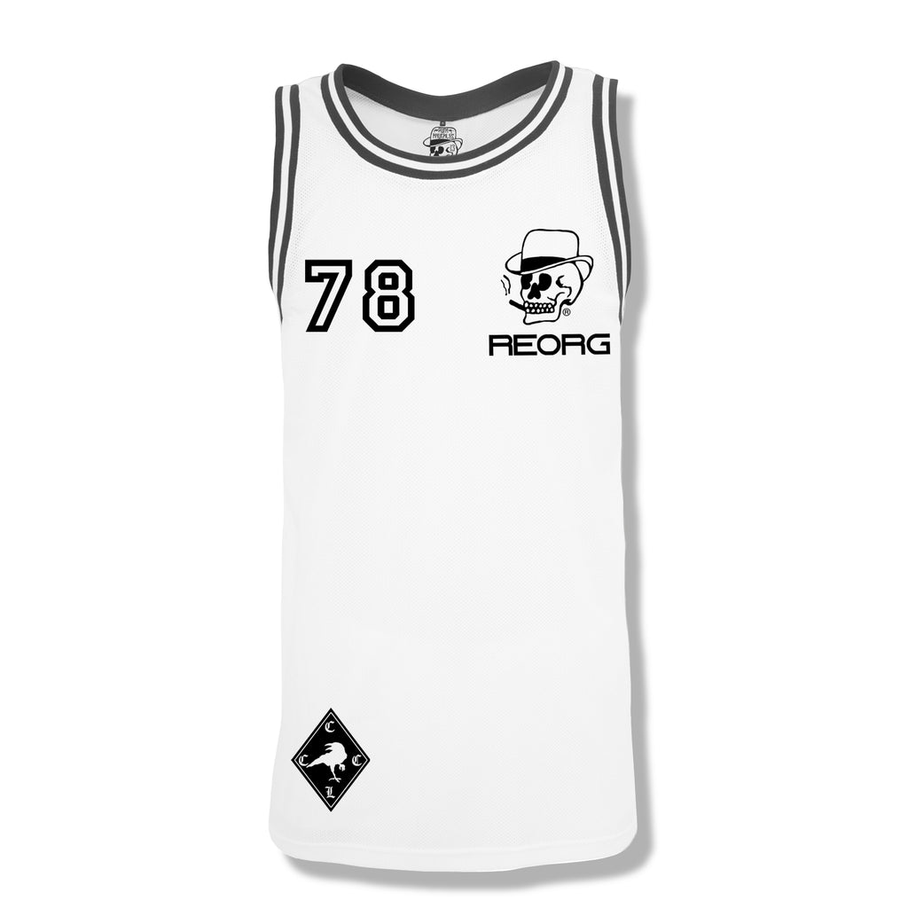 RK x REORG Functional Basketball Top - White with Black piping