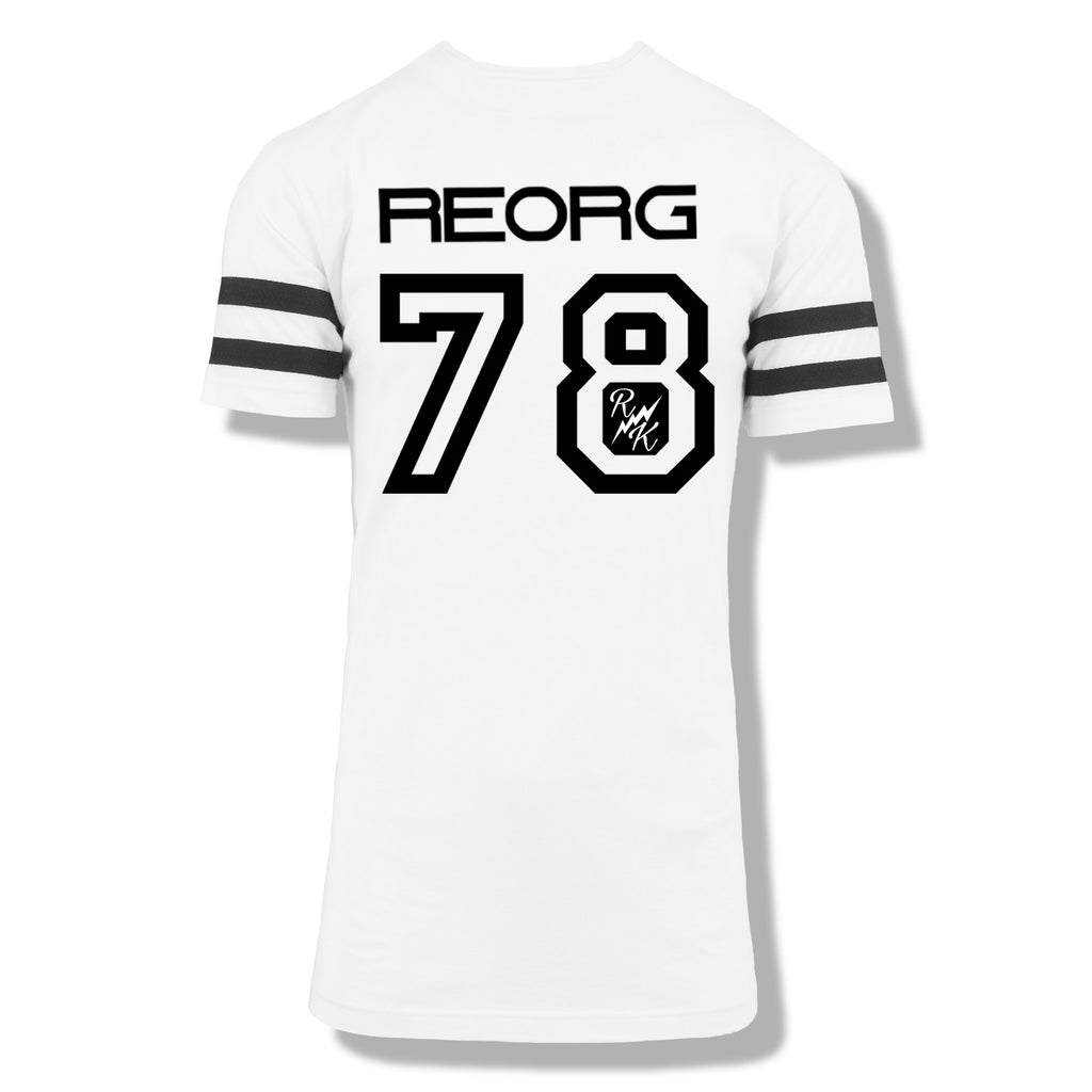 RK x REORG Functional Baseball Tee - White with Black Stripe Sleeve