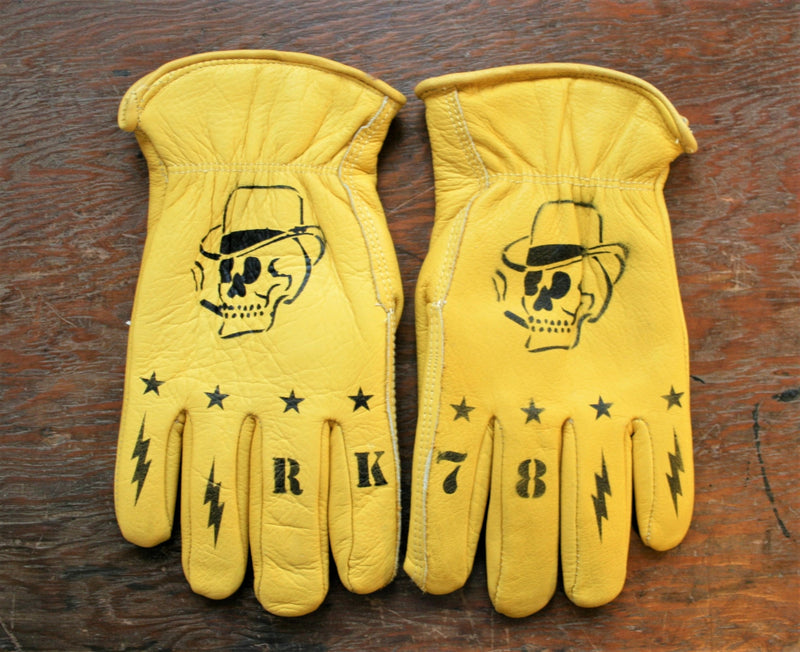 RK Limited Hand-Stenciled Real Leather Biker Gloves