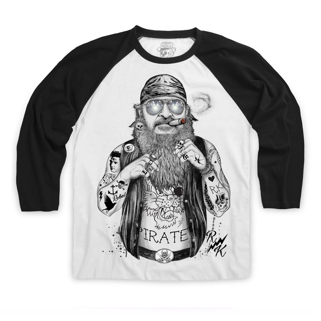 RK Biker Pirate Raglan Baseball