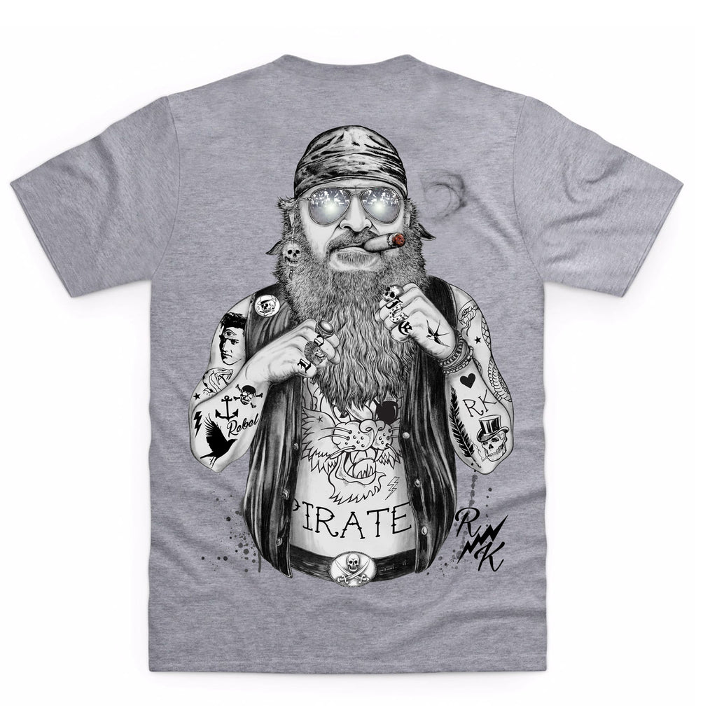 RK Biker Pirate Heather Grey T-Shirt