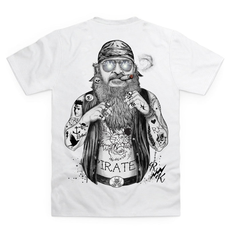 RK Biker Pirate White T-Shirt