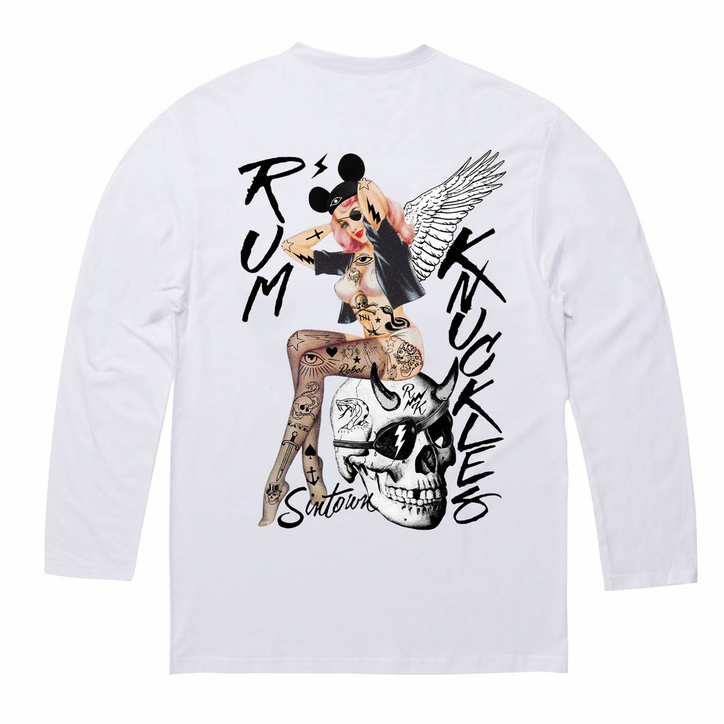 RK Pin Up White Long/s Tee