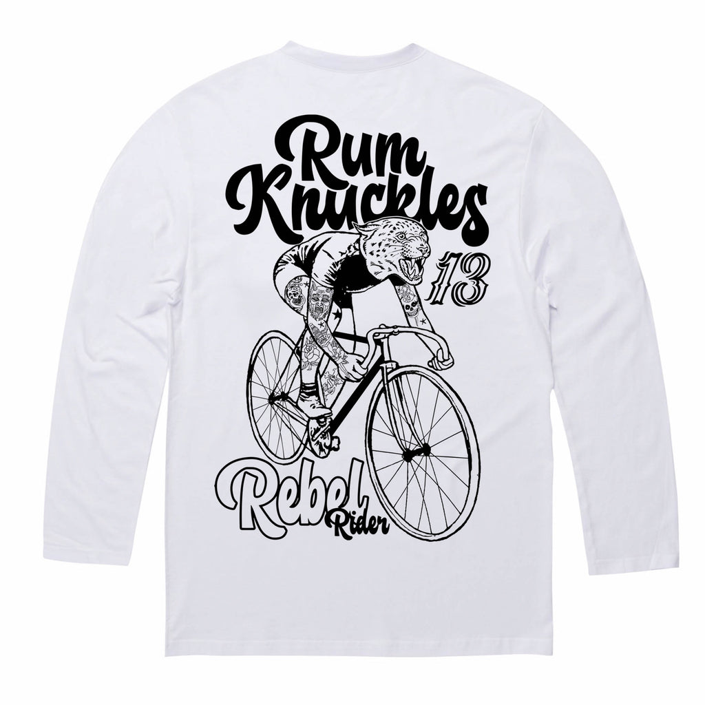 RK Rebel Rider White Long/s Tee