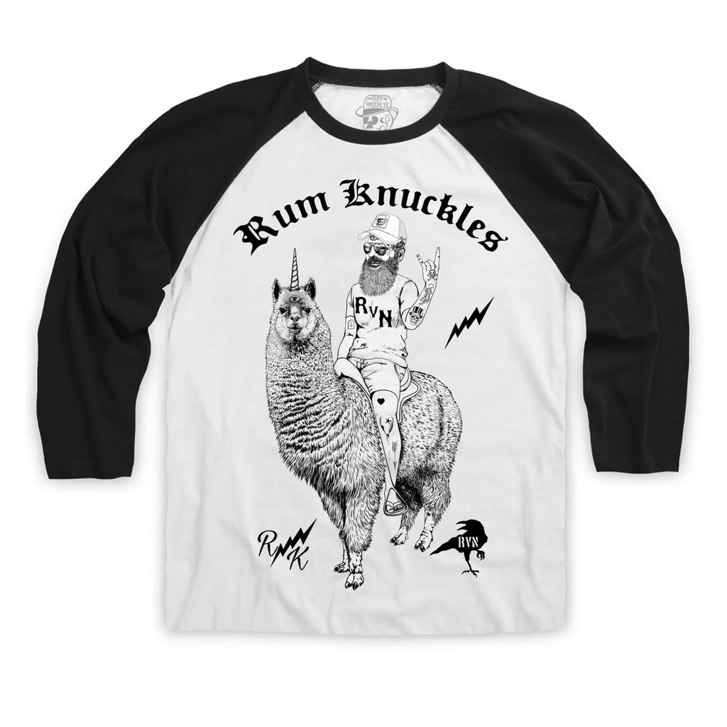 CLEARANCE RK Lama Time Long Sleeve T-shirt - White with black sleeves
