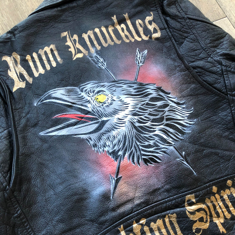 RK Raven Fighting Spirit - Hand Painted Vintage Leather Jacket