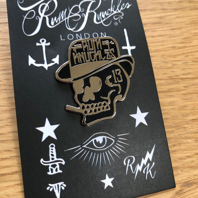 RK Smoking Skull Logo Pin Badge
