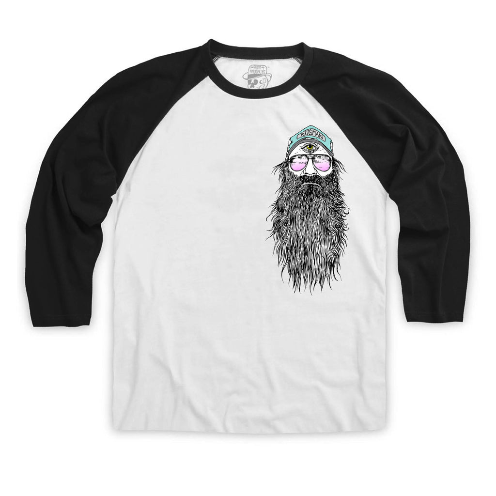 RUGMAN BAERDY MAN BASEBALL TEE Black and White