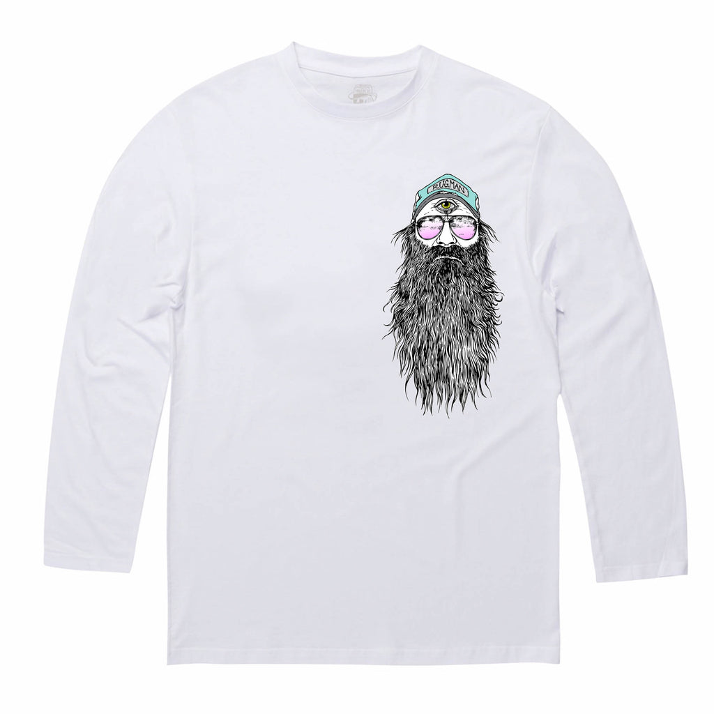 RUGMAN BEARDY MAN LONG SLEEVE T-SHIRT White