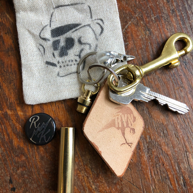 RK Fighting Spirit - Raven Skull/Pill Box Solid Brass Keyring
