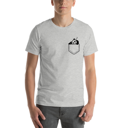 Grey Pocket Panda Casual T shirt