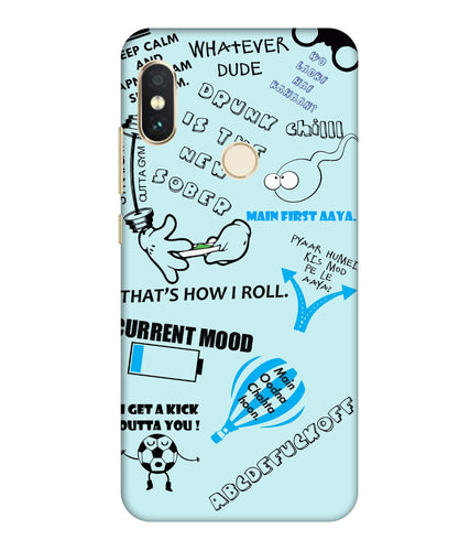 Redmi Note 6 Doodle Mobile Cover