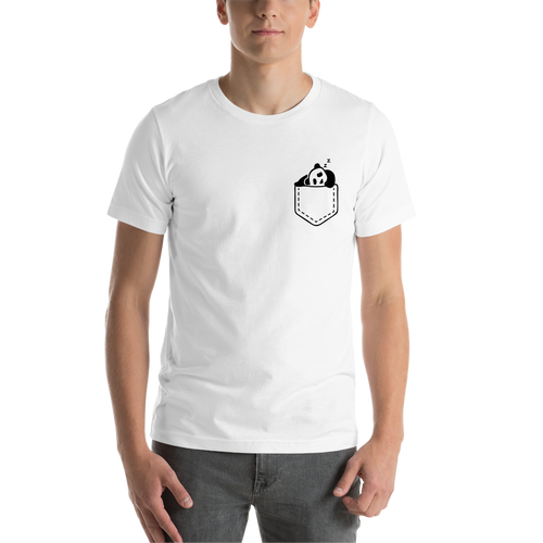 White Pocket Panda Casual T shirt