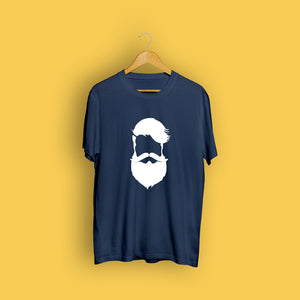 Cool Beard Navy Blue Casual T-Shirt