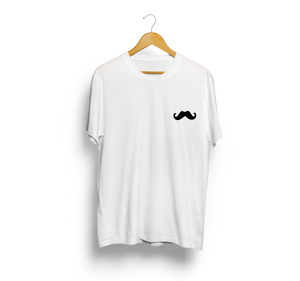 Mustache White Casual Pocket T-Shirt